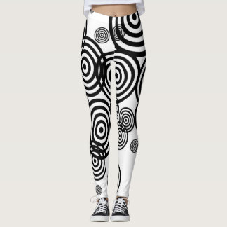Black And White Circles Leggings