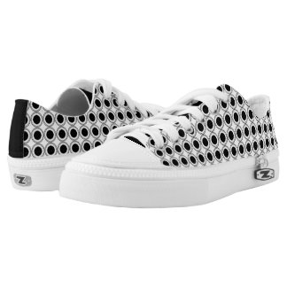 Black and White Circles - Low Top Printed Shoes
