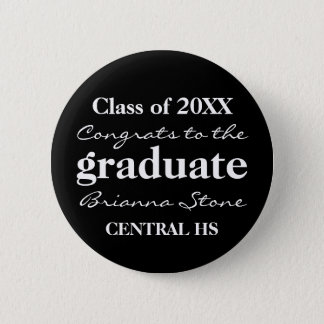 Black and White Class of 2017 Graduation Button