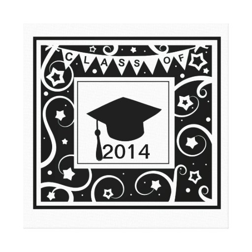 Black and white class of custom year graduation gallery wrapped canvas
