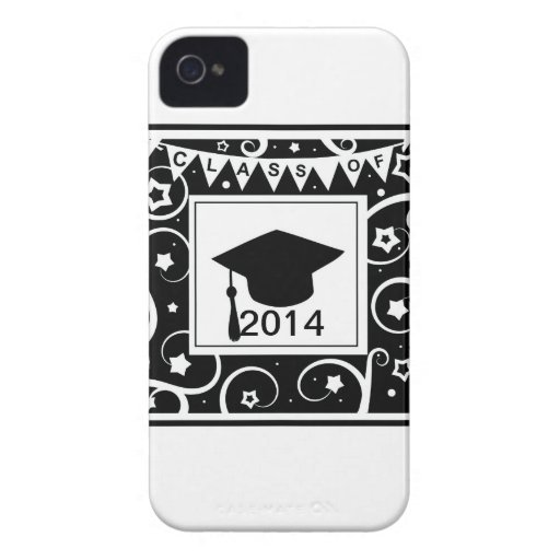 Black and white class of custom year graduation iPhone 4 Case-Mate case