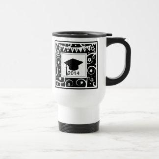 Black and white class of custom year graduation coffee mug