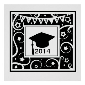 Black and white class of custom year graduation poster