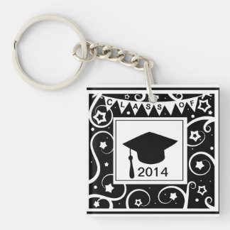 Black and white class of custom year graduation Single-Sided square acrylic key ring