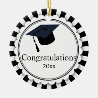 Black and White Class of Graduation Christmas Ornament