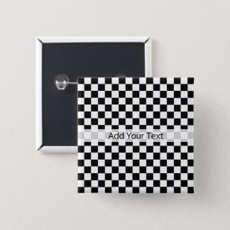 Black and White Classic Checkerboard by STaylor 15 Cm Square Badge