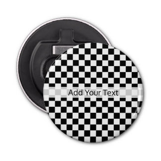 Black and White Classic Checkerboard by STaylor Bottle Opener