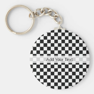Black and White Classic Checkerboard by STaylor Key Ring