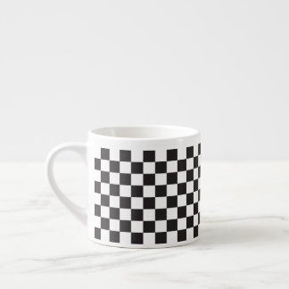 Black And White Classic Retro Checkered Pattern Espresso Cup