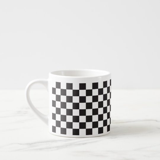Black And White Classic Retro Chequered Pattern Espresso