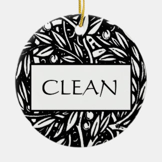 Black and White Clean Dirty Dishwasher Hanger Christmas Ornament