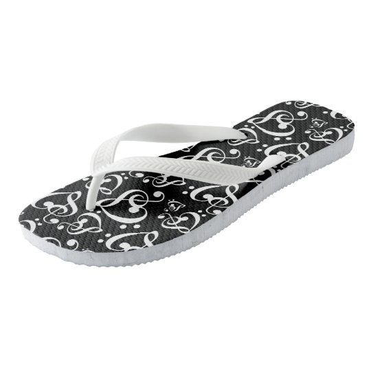Black And White Clef Hearts Music Notes Shoes