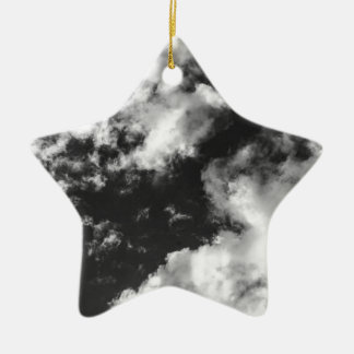Black and White Cloudy weather Ceramic Star Decoration