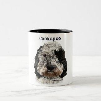 Black and White Cockapoo Dog Two-Tone Coffee Mug