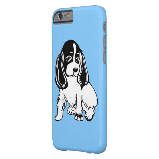 Black and White Cocker Spaniel Blue iPhone 6 Case Barely There iPhone 6 Case