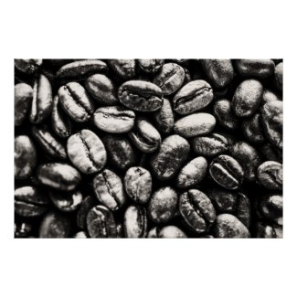 Black and white Coffee Beans Poster