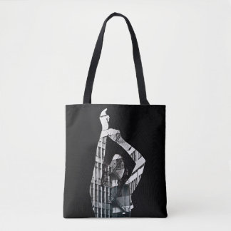 Black and white collage with dancing  girl tote bag