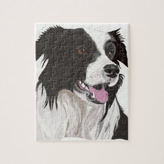 black and white collie brown eyes jigsaw puzzle