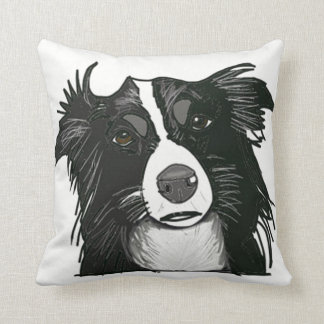 Black and White Collie Portrait Cushion