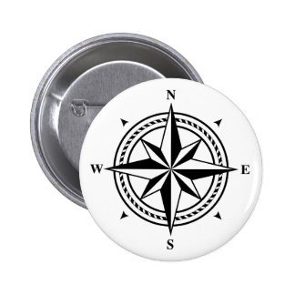 Black and white compass rose postage stamp 6 cm round badge