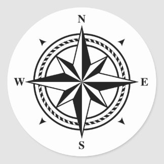 Black and white compass rose postage stamp round sticker