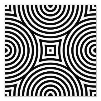 Black and White Concentric Circles Pattern Photograph