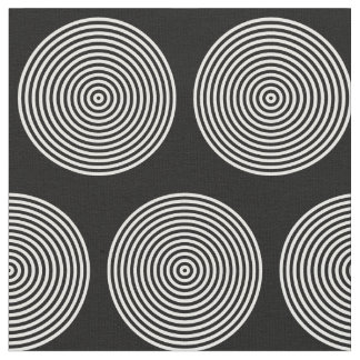 Black and White Concentric Ring Dots Fabric