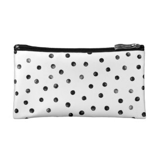 Black And White Confetti Dots Makeup Bags