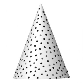 Black And White Confetti Dots Party Hat