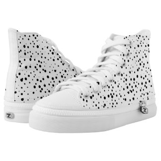 Black and White Confetti Dots Pattern Printed Shoes