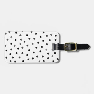 Black And White Confetti Dots Travel Bag Tags