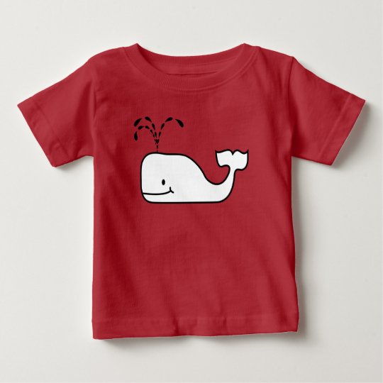 Black and White Contour Funny Bubble up Whale Baby T-Shirt