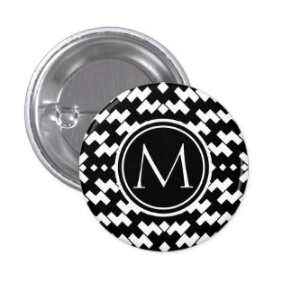 Black and White Cool Chevron 3 Cm Round Badge