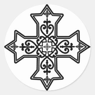 Black and White Coptic Cross Classic Round Sticker