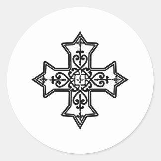 Black and White Coptic Cross Round Sticker