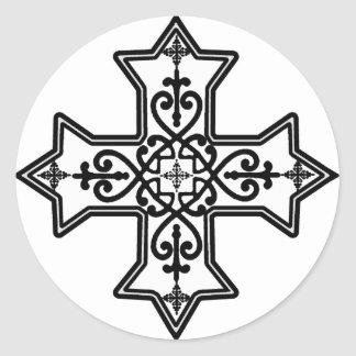 Black and White Coptic Cross Round Sticker