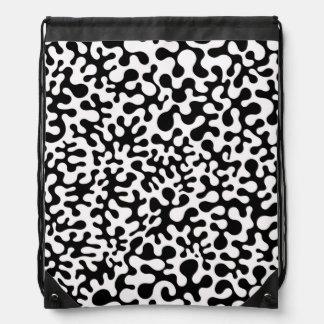 Black and White Coral Blots Drawstring Bag