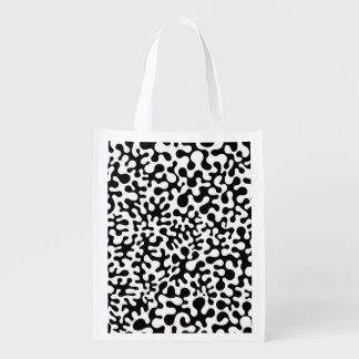 Black and White Coral Blots Reusable Grocery Bag