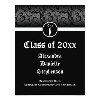 Black and White Cosmetology School Graduation 11 Cm X 14 Cm Invitation Card