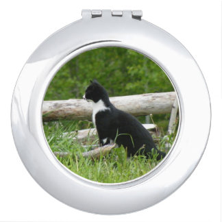Black and White Country Kitten Cat Compact Mirrors