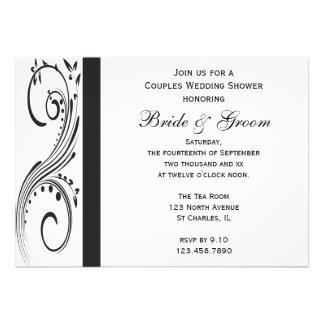 Black and White Couples Wedding Shower Invitation