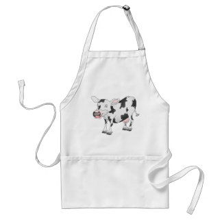 Black and white cow apron