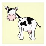 Black and White Cow Cartoon. Announcement
