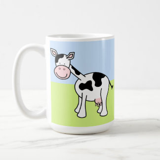 Black and White Cow Cartoon. Basic White Mug