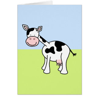 Black and White Cow Cartoon. Card