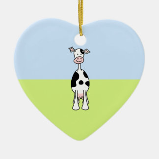 Black and White Cow Cartoon. Front. Christmas Ornament