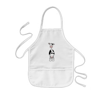 Black and White Cow Cartoon. Front. Kids Apron