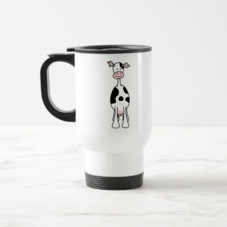 Black and White Cow Cartoon. Front. Stainless Steel Travel Mug