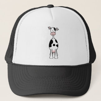Black and White Cow Cartoon. Front. Trucker Hat