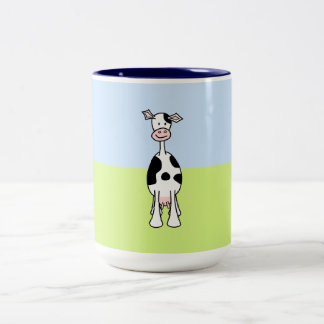 Black and White Cow Cartoon. Front. Two-Tone Coffee Mug